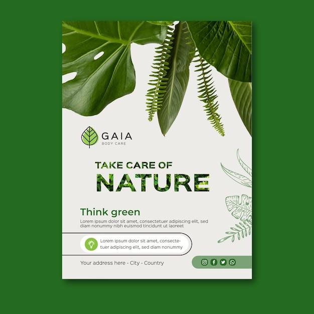 Cuida la plantilla de póster del medio ambiente de la naturaleza Vector Premium