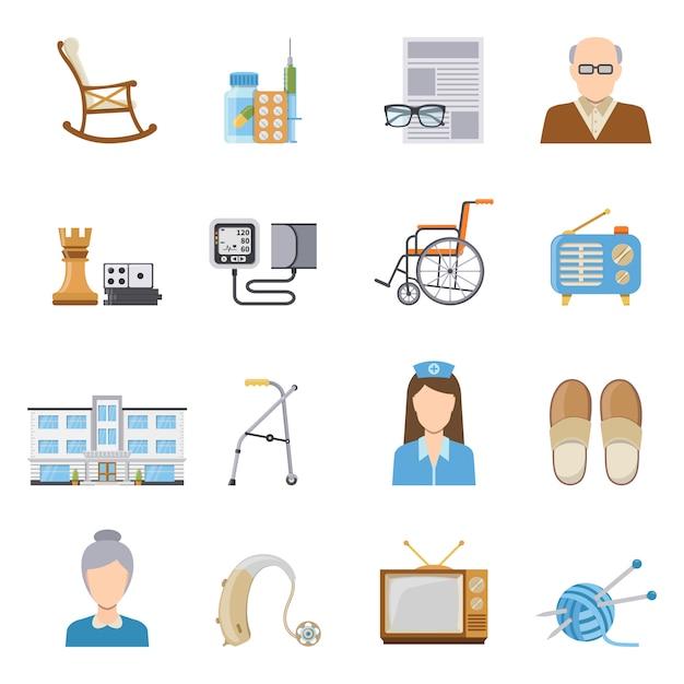 Cuidado de ancianos en los iconos de la casa de reposo vector gratuito