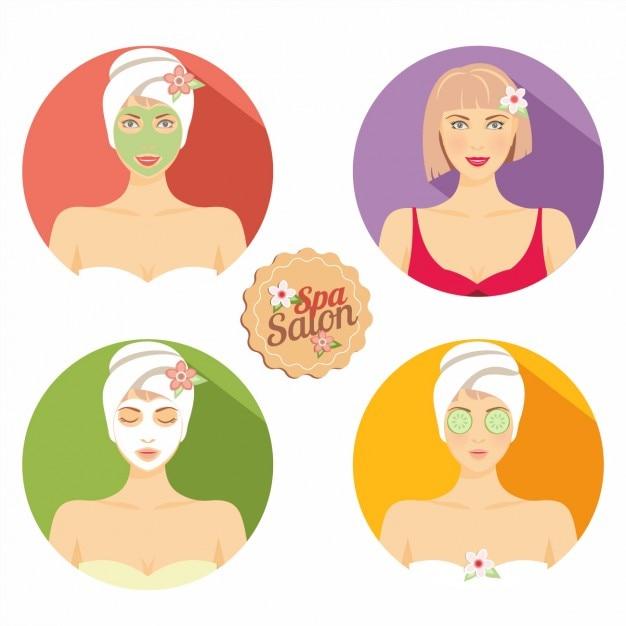 Cuidado de belleza de la piel para mujeres vector gratuito