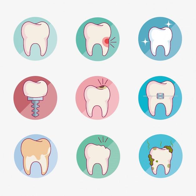 Cuidado dental establece iconos vector gratuito