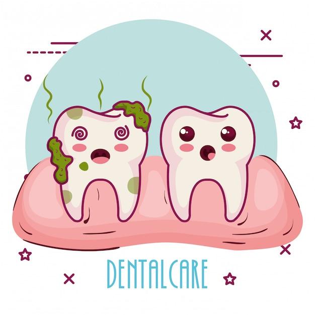 Cuidado dental personajes kawaii vector gratuito