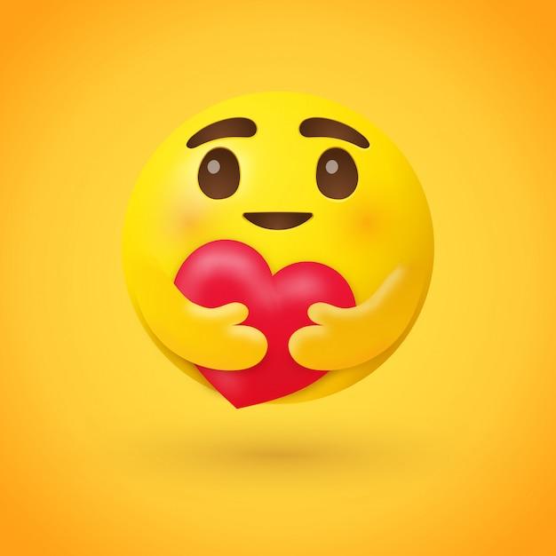 Cuidado emoji abrazando un corazón rojo Vector Premium