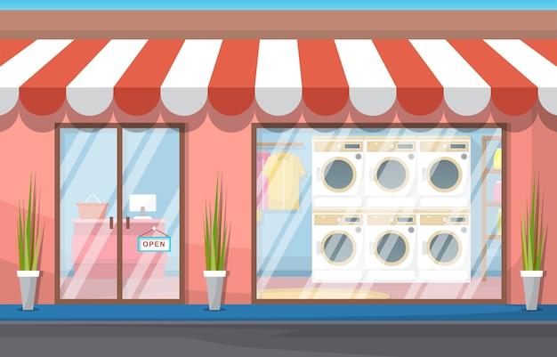 Cuidado limpio lavandería lavadora de ropa servicio de lavandería Vector Premium
