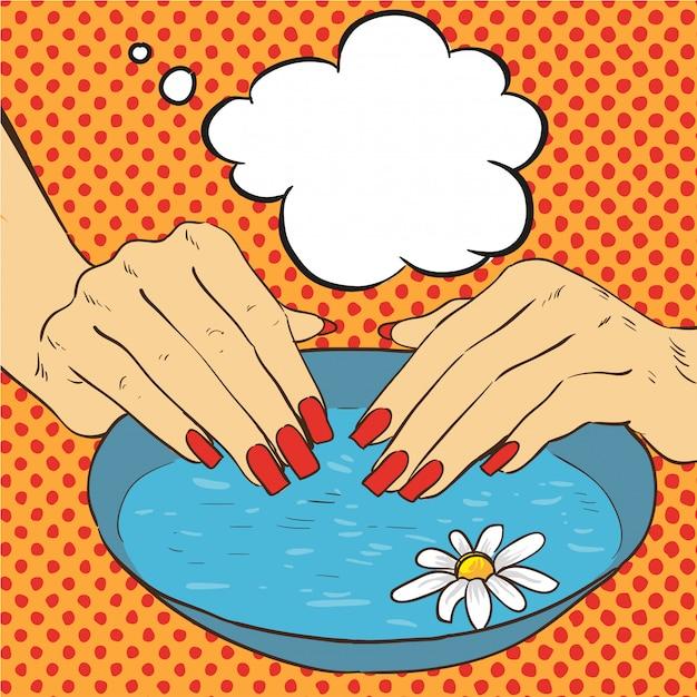 Cuidado de manicura y uñas Vector Premium