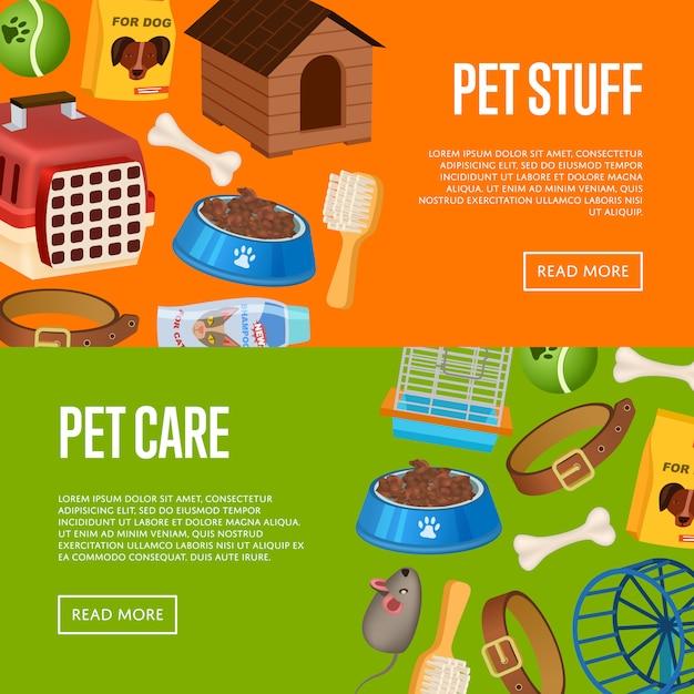 Cuidado de mascotas banner web en estilo de dibujos animados Vector Premium