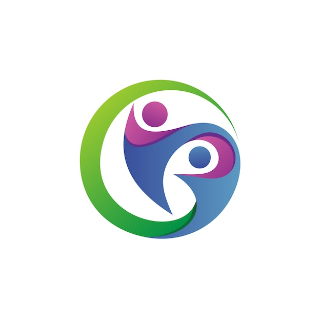 Cuidado de personas en círculo, fundación logo vector Vector Premium