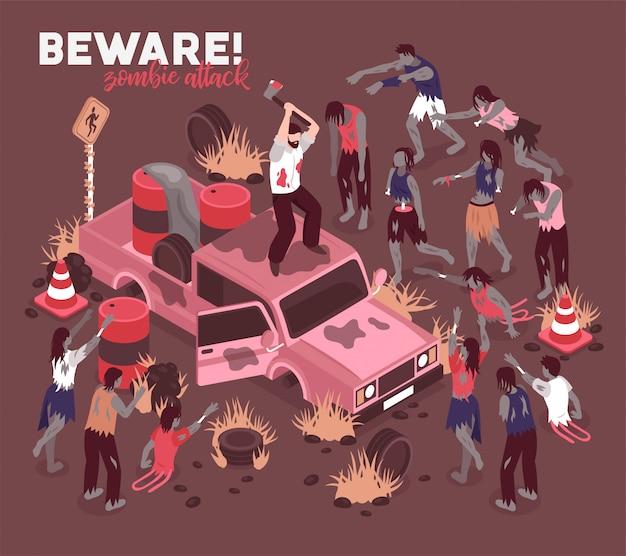 Cuidado con los zombis vector gratuito