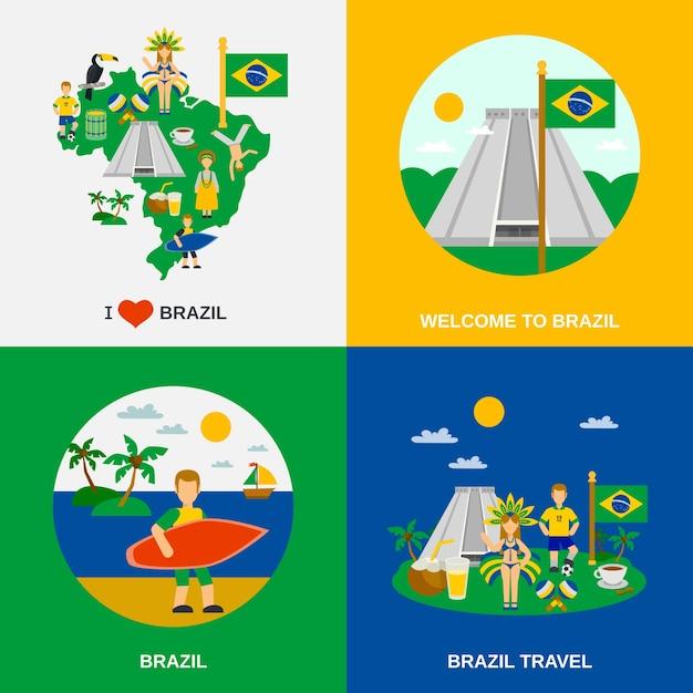 Cultura brasileña 4 flat icons square vector gratuito