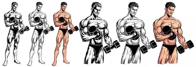 Culturista masculino de cuerpo completo con mancuerna Vector Premium