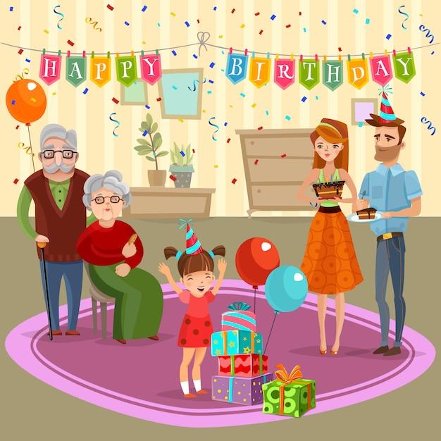 Cumpleaños familiar celebración de dibujos animados ilustración vector gratuito