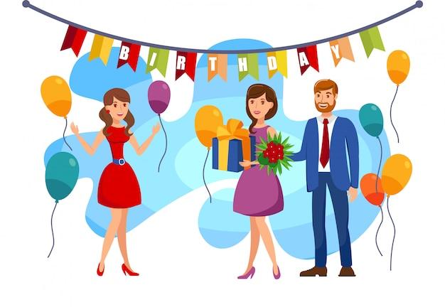 Cumpleaños, ilustración de color de fiesta sorpresa Vector Premium
