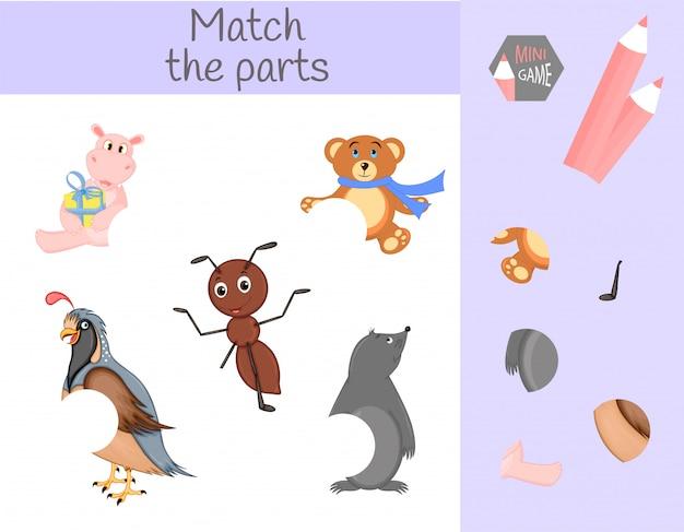 Cumplimiento del juego educativo infantil. emparejar partes de animales. encuentra los rompecabezas que faltan Vector Premium