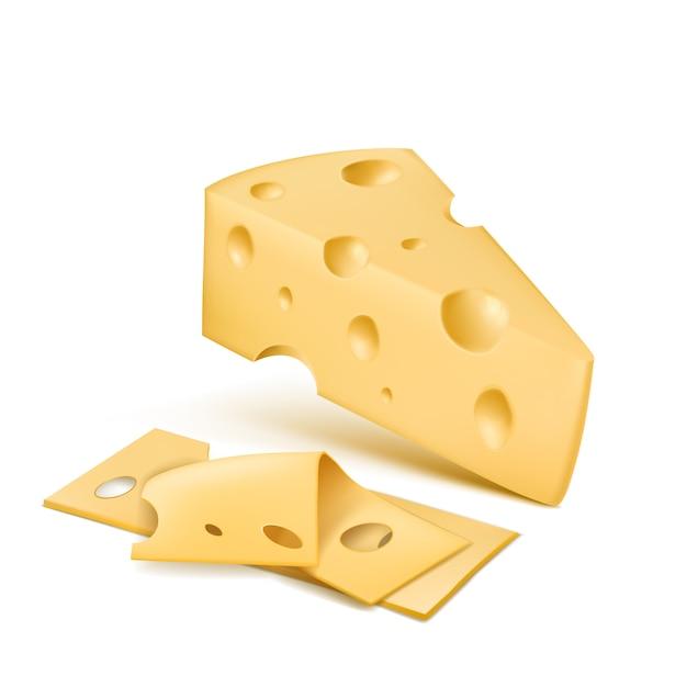 Cuña de queso emmental con rodajas finas. producto orgánico fresco de suiza, productos lácteos italianos vector gratuito