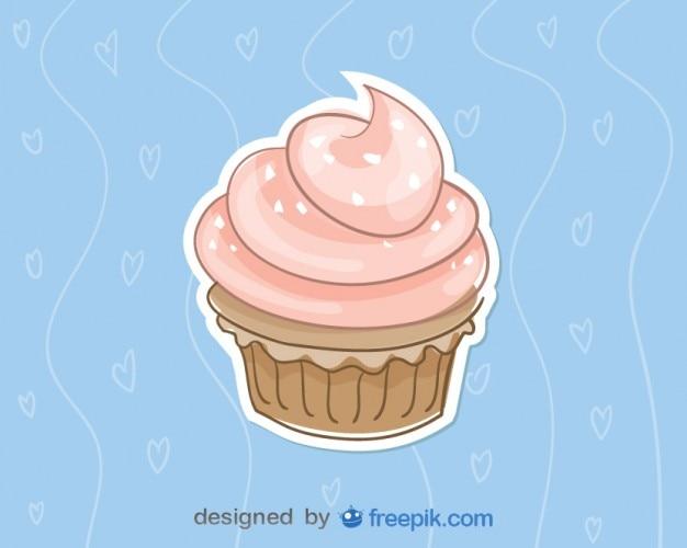 Cupcake de fresa con fondo azul Vector Premium