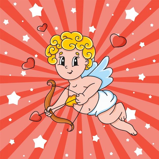 Un cupido con alas vuela y sostiene un arco y una flecha. personaje de dibujos animados lindo día de san valentín. Vector Premium