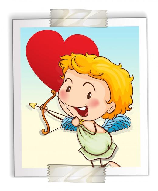 Cupido con arco y flecha vector gratuito