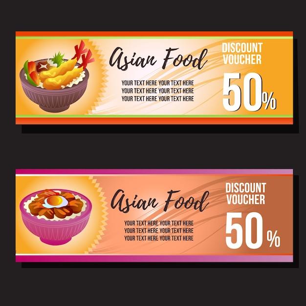 Cupon De Descuento De Comida Asiatica Descargar Vectores Premium