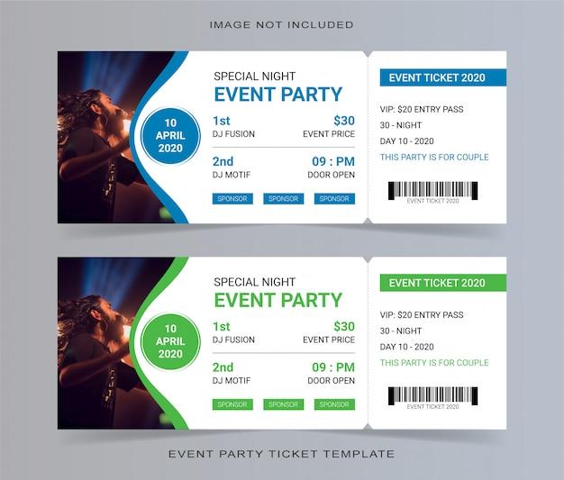 Cupón de invitación de plantilla de boleto de fiesta de evento vacío Vector Premium