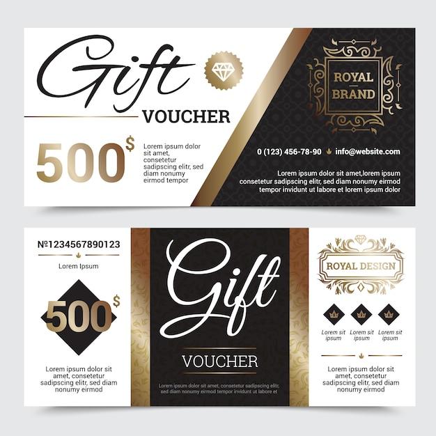 Cupón de regalo de diseño real con elementos ornamentales dorados en marcos. vector gratuito