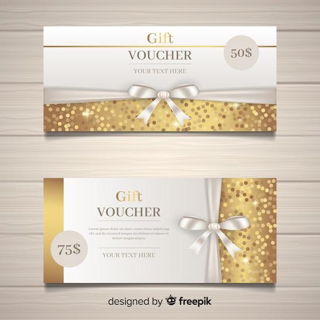 Cupón de regalo elegante con estilo dorado vector gratuito