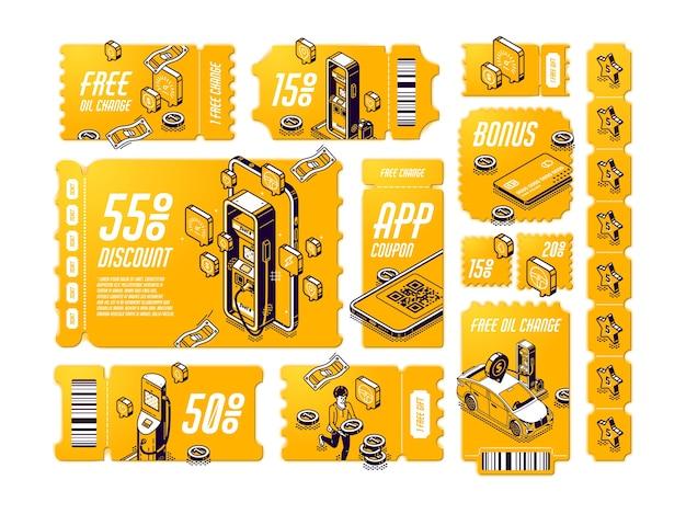 Cupones de descuento isométricos para cambio de aceite gratis vector gratuito
