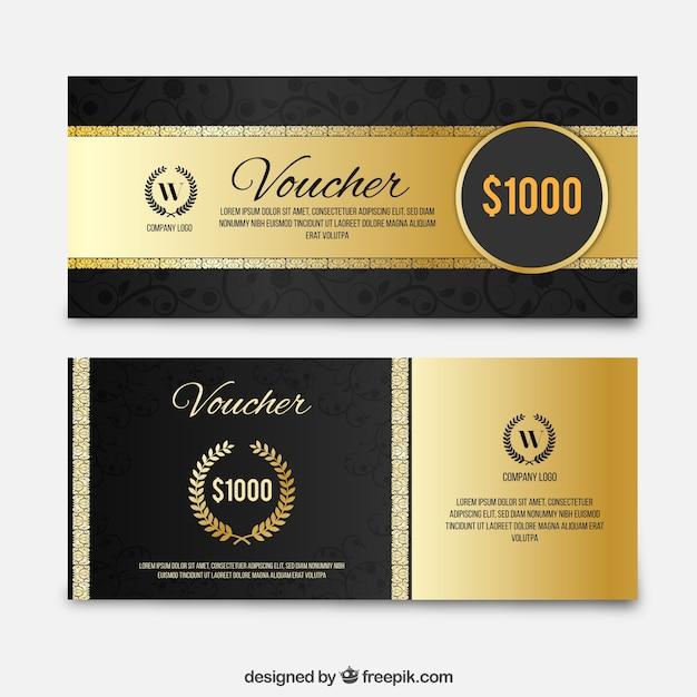Cupones de descuento de lujo de oro fijados vector gratuito