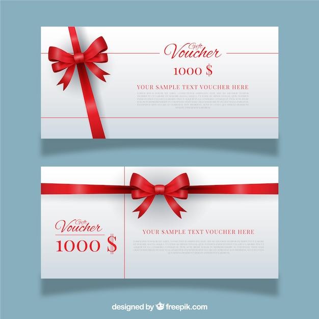 Cupones de regalo con lazo rojo vector gratuito