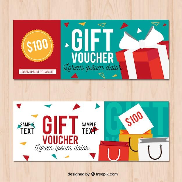 Cupones de regalos en diseño plano vector gratuito