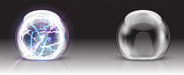 Cúpula de vidrio, bola eléctrica o esfera realista. vector gratuito