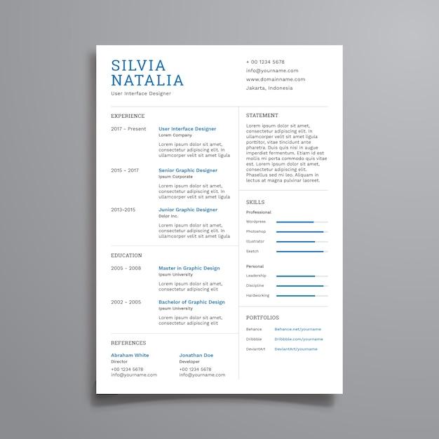 Currículum simple limpio | Descargar Vectores Premium