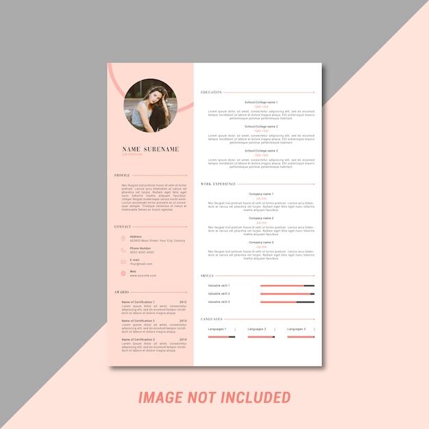 Curriculum vitae femenino plantilla de diseño. Vector Premium
