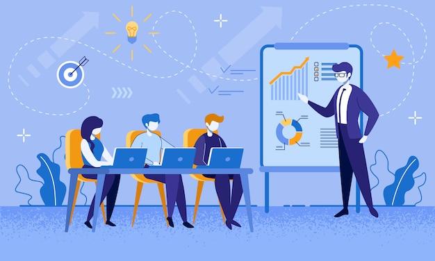 Cursos de educación para trabajadores y empresarios Vector Premium