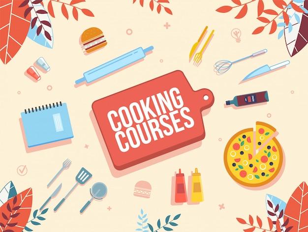 Cursos En Linea De Cocina Banner Plano Vector Premium