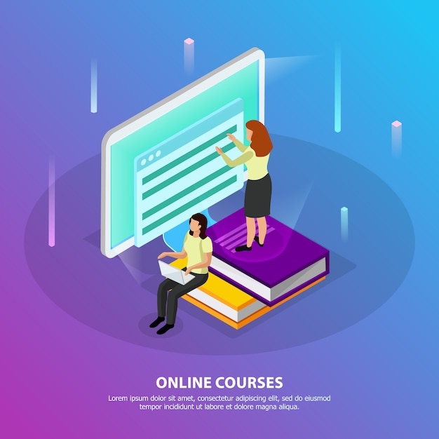 Cursos en línea isométricos con dos mujeres que estudian a distancia utilizando una pc de escritorio vector gratuito