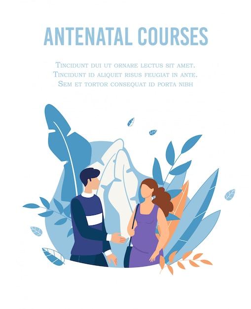 Cursos prenatales de publicidad publicitaria para parejas Vector Premium