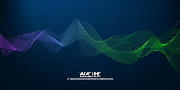Curva de línea de onda de sonido azul y verde sobre fondo oscuro. elemento para vector de tecnología temática futurista Vector Premium