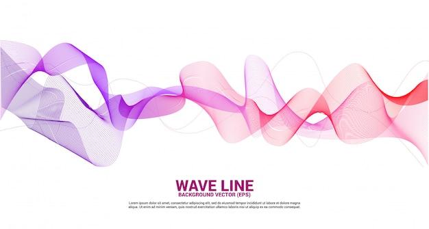 Curva de línea de onda de sonido rojo púrpura sobre fondo blanco. elemento para vector futurista de tecnología de tema Vector Premium