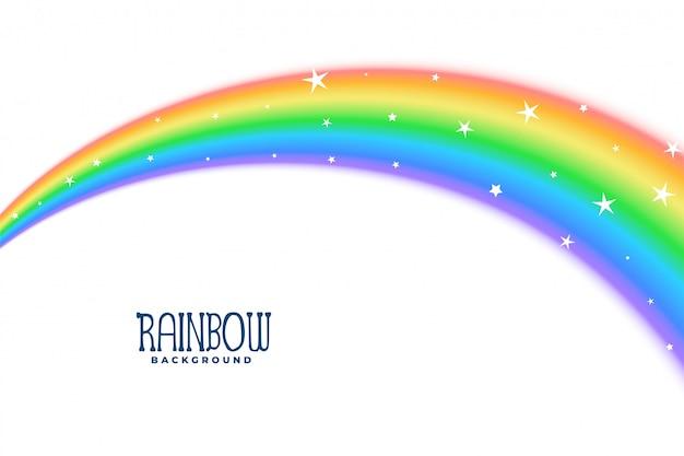 Curva ondulada arco iris con fondo de estrellas vector gratuito