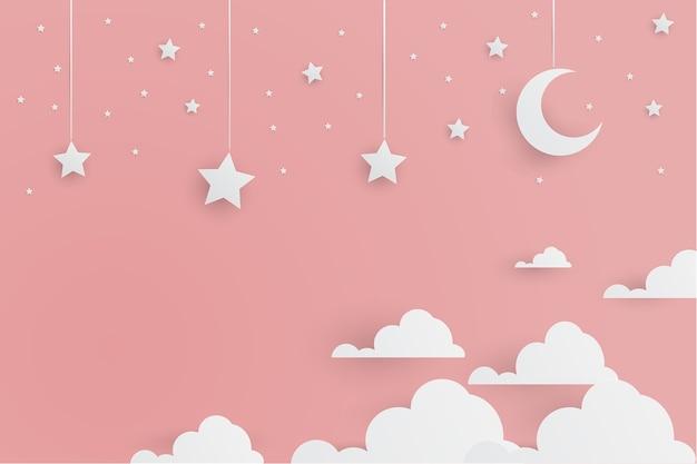 Cute Adorable Estrellas Blancas Y La Luna Con Nubes Estilo