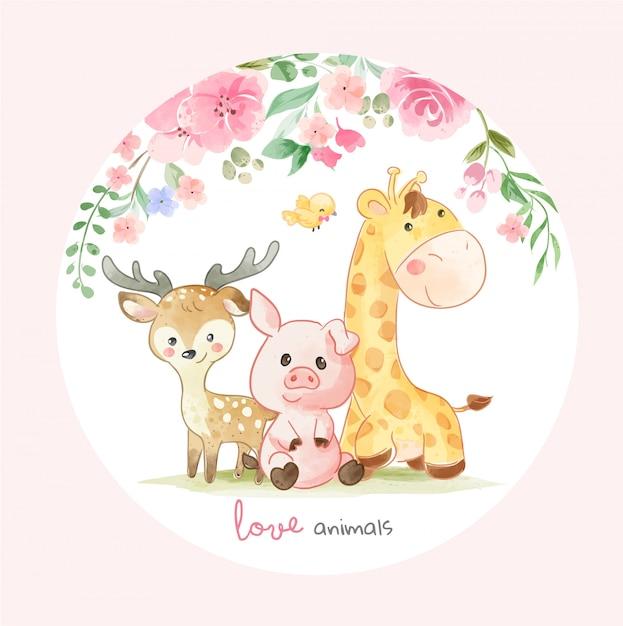Cute animal friends y coloridas flores ilustración en forma de cirlce Vector Premium
