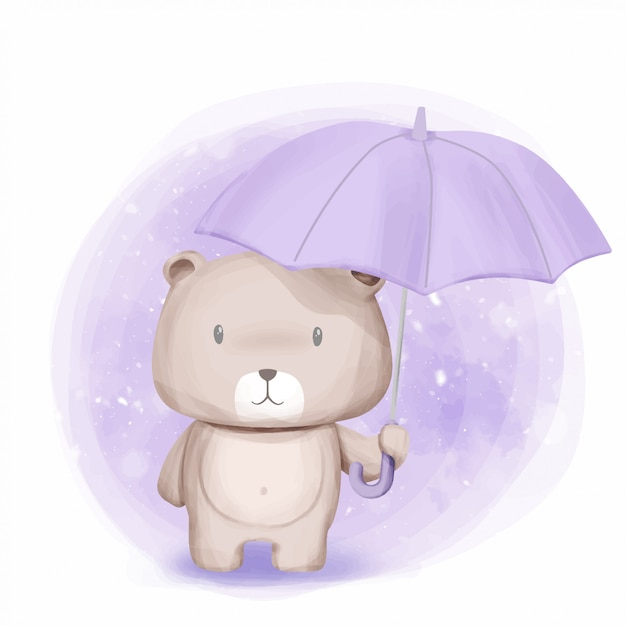 Cute bear stand y held umbrella Vector Premium