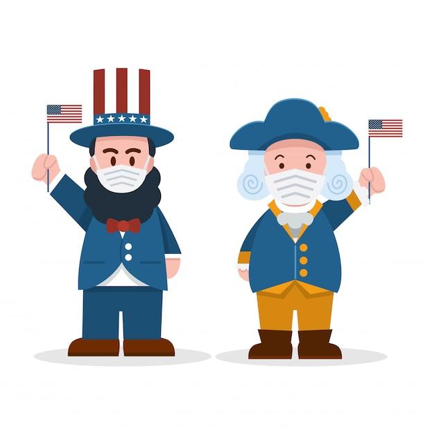 , cute cartoon abraham lincoln y george washington con mascarillas, día del presidente Vector Premium