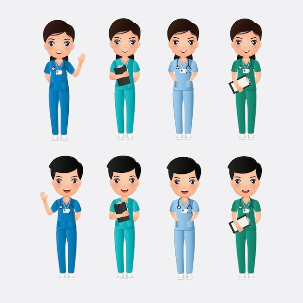 Cute catoon chaacter de enfermeras y enfermeras sobre un fondo blanco. Vector Premium