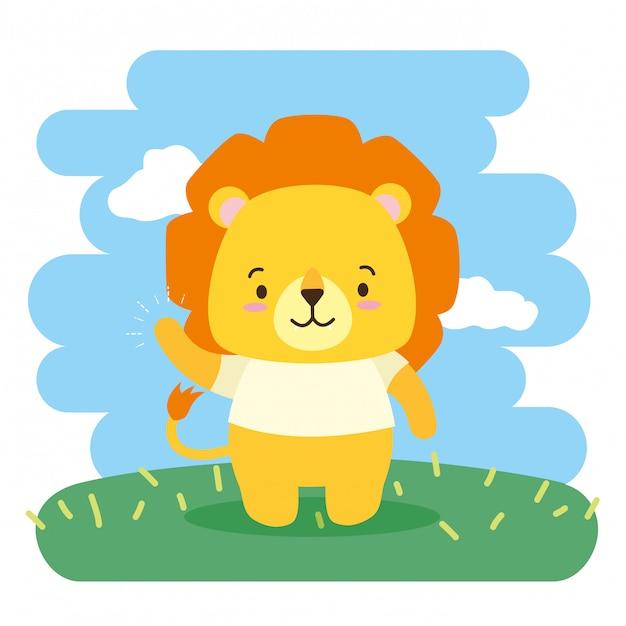 Cute dibujos animados de animales, ilustración vector gratuito