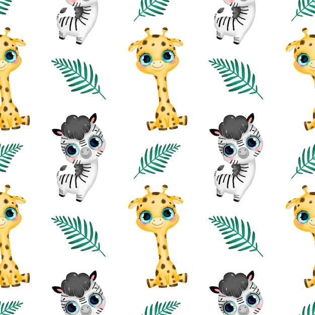 Cute dibujos animados animales tropicales de patrones sin fisuras. jirafa, cebra y hojas de palma sin patrón. Vector Premium