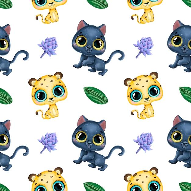 Cute dibujos animados animales tropicales de patrones sin fisuras. leopardo, pantera y hojas tropicales de patrones sin fisuras. Vector Premium
