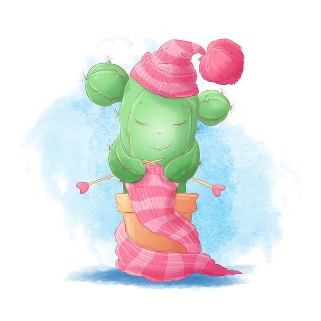 Cute dibujos animados chica cactus teje una bufanda en un gorro. ilustración vectorial Vector Premium