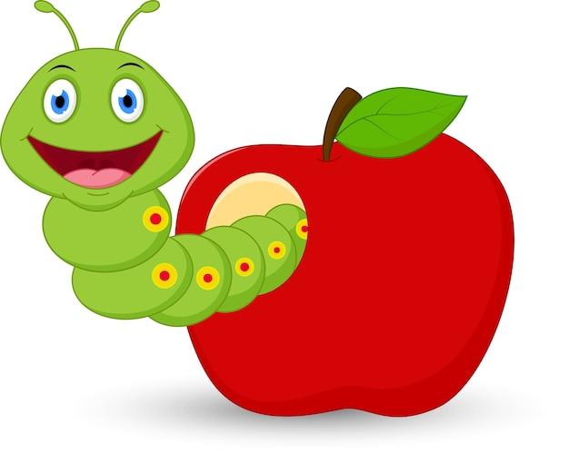 Cute Dibujos Animados De Gusano En La Manzana