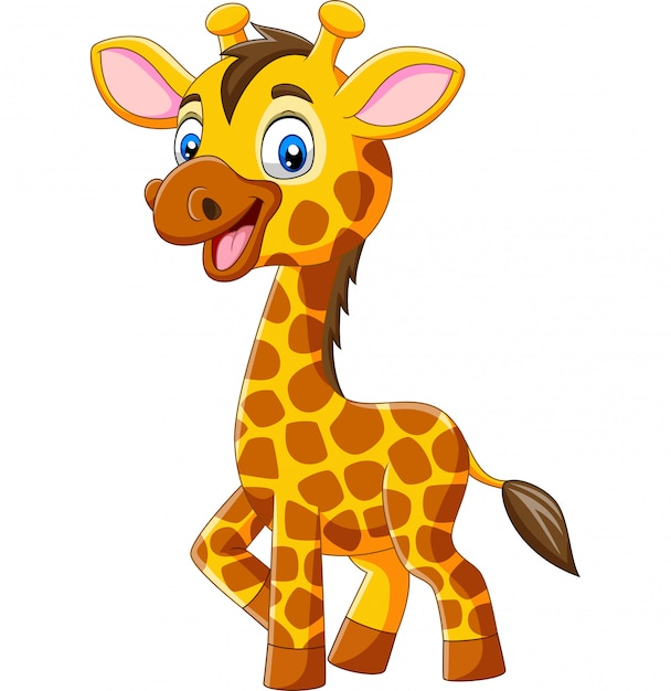 Cute dibujos animados jirafa aislado sobre fondo blanco Vector Premium