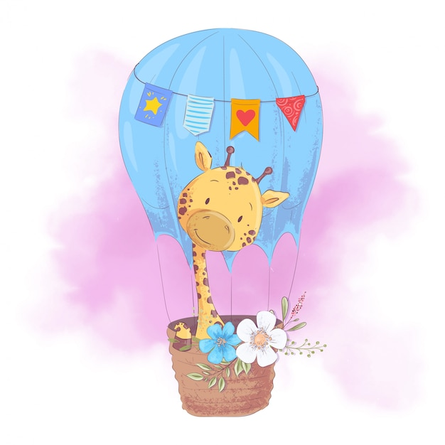 Cute dibujos animados jirafa en un globo con flores. ilustración vectorial Vector Premium